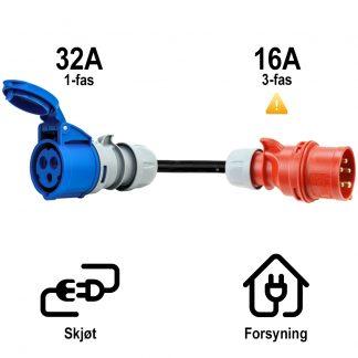 Overgang fra Rød CEE 16A 3-fas til Blå CEE 32A 1-fas